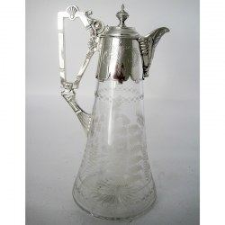 Victorian Silver Plated Claret Jug with Cast Fluted Spout and an Unusual Stylised Handle