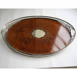 Victorian Oval Silver and Inset Walnut Gallery Tray