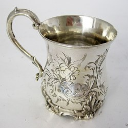 Early Victorian Inverted Bell Shaped Silver Christening Mug