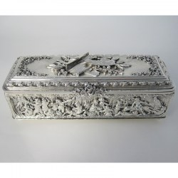 Decorative Electrotype Rectangular Silver Plated Jewellery or Trinket Box