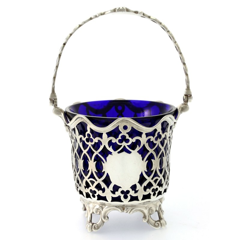 Victorian Silver Sugar Basket With Blue Glass Liner C 1848