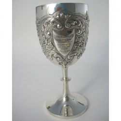 Edwardian Silver Goblet with Knobbed Stem and Plain Splayed Circular Foot