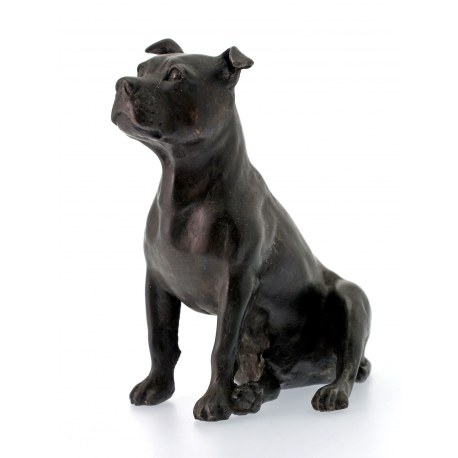 Bronze Figure of a Sitting Staffordshire Bull Terrier Statue