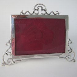 Edwardian Silver Photo Frame with Applied Wirework Scrolling
