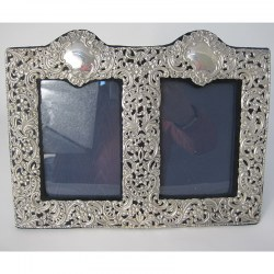 Unusual Late Victorian Double Photo Frame with Two Empty Cartouche