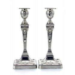 A Pair of Adam Style Silver Candlesticks c.1901