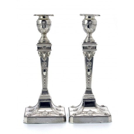 Pair of Neoclassical Adam Style Silver Candlesticks (c.1901)