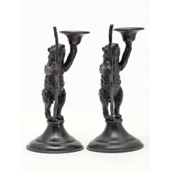 A Pair of Bronze Standing Bear Candlesticks