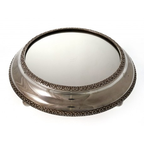 Antique Victorian Silver Plated Mirror Plateau Cake Stand c.1870