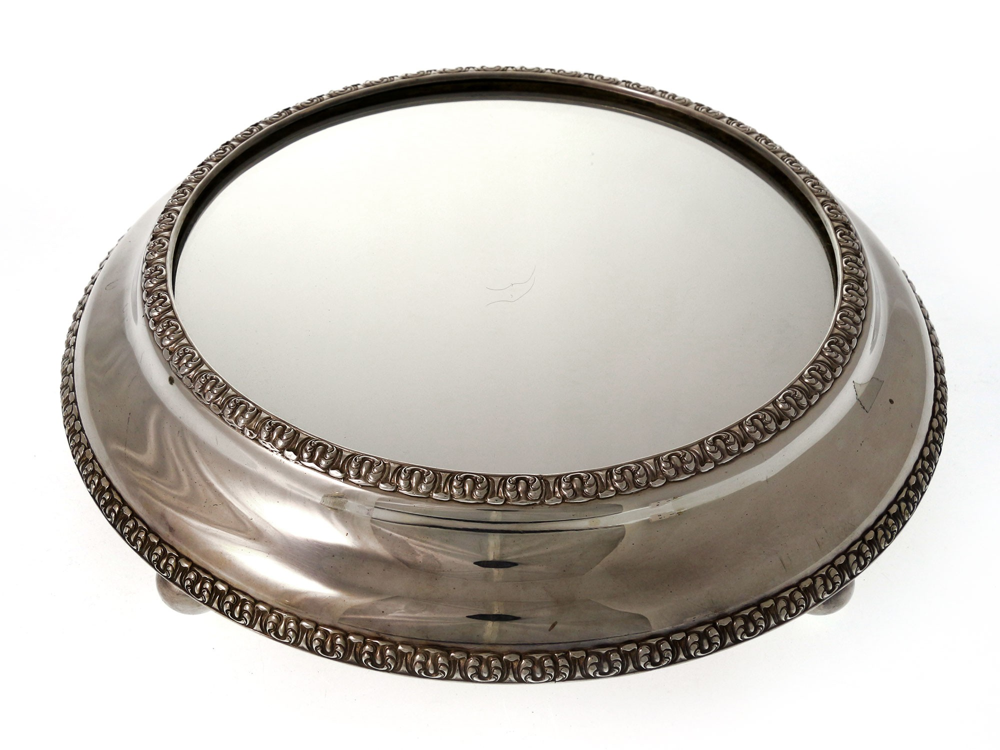 Silver Plated Antique Victorian Mirror Plateau Cake Stand c 1870