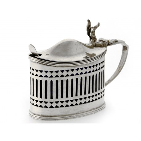 A Silver Oval Mustard Pot with Original Blue Glass Liner