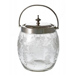 An Attractive Silver Plate & Glass Biscuit Barrel c.1890