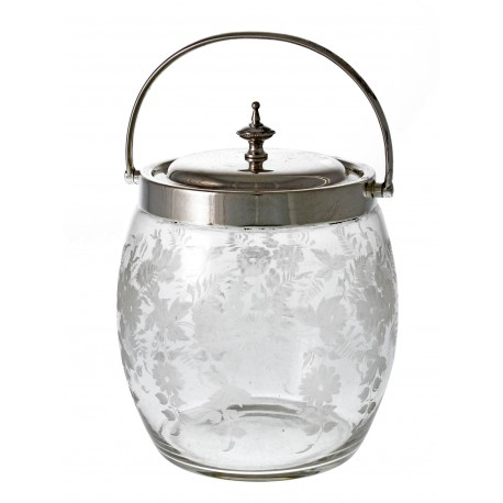 An Attractive Antique Silver Plate & Engraved Glass Biscuit Barrel (c.1890)