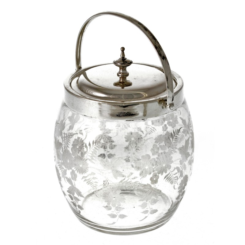 Victorian Silver Plate And Engraved Glass Biscuit Barrel