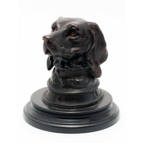 A Copy of a Victorian Bronze Golden Retriever Dog Inkwell Statue