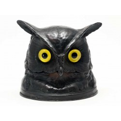 Victorian Style Bronze Owl Inkwell Statue with Glass Eyes