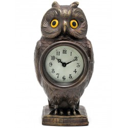 Beautifully Detailed Bronze Statue of a Standing Owl with Clock