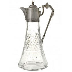 Antique Silver Plate & Cut Glass Bell Shaped Claret Jug (c.1890)