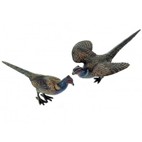 Pair of Hand Painted Bronze Pheasant Statues