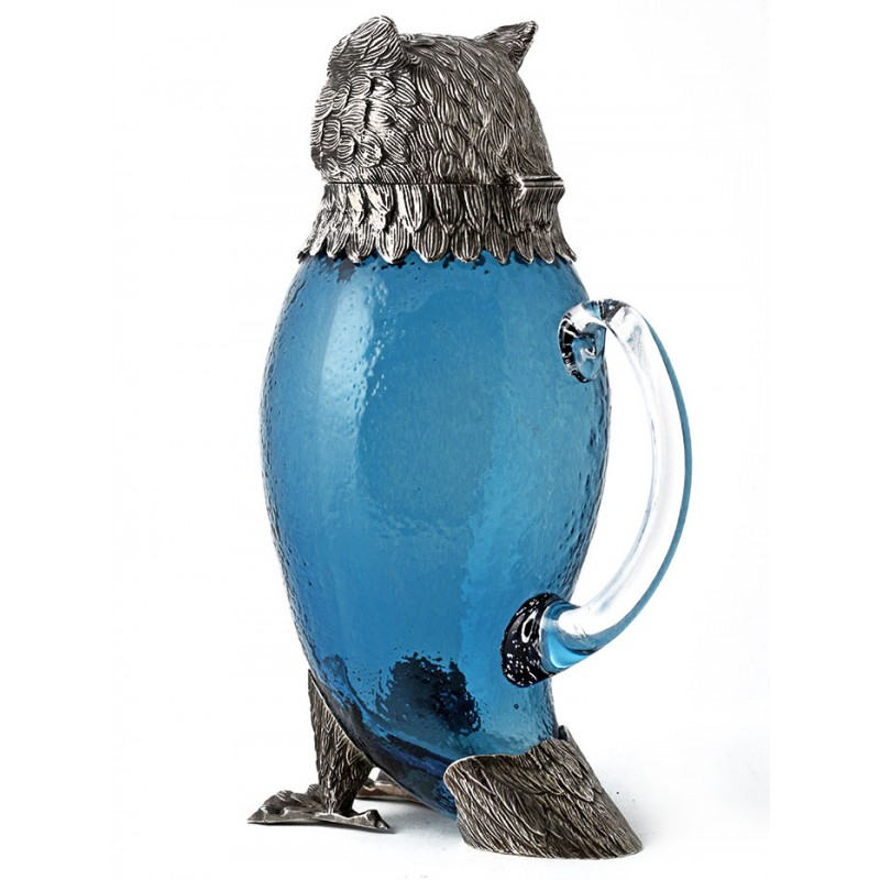 Reproduction Silver Plate And Glass Owl Shaped Claret Jug