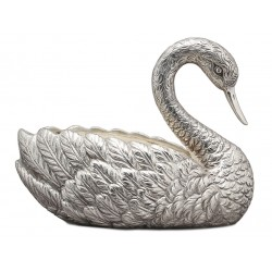 Cast Silver Plated Swan Shaped Planter