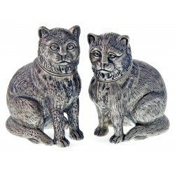 Pair Modern Sterling Silver Cat Salt and Peppers