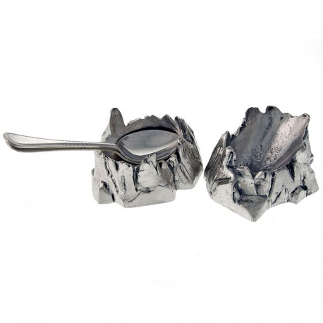 Pair Silver Plated Cast Rockwork Base Serving Spoon Holders