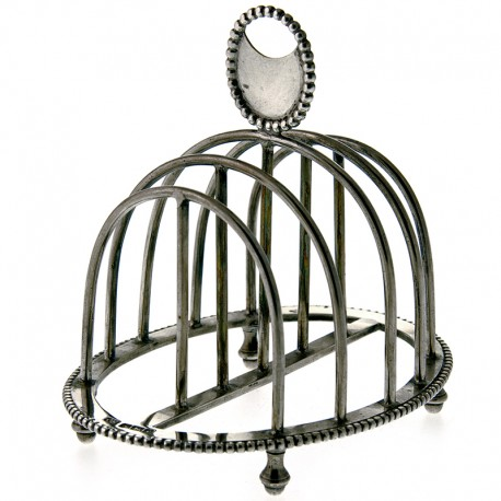 Oval Shape Solid Silver Georgian Style Toast Rack (1923)
