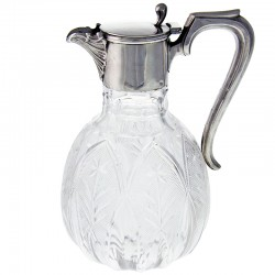 English Edwardian Antique Silver and Cut Glass Claret Jug (1902)