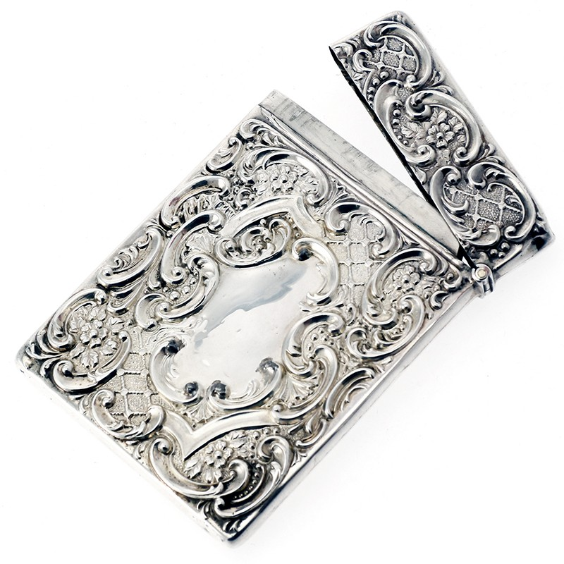 Antique Silver Visiting Card Case with Collie Dog. 1907