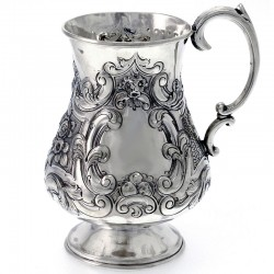 Baluster Shape Antique Victorian Antique Silver Christening Mug c.1860