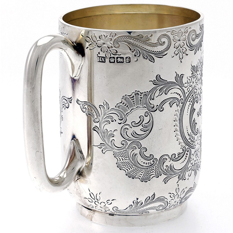 Silver Victorian Christening Mug Engraved With Scrolls