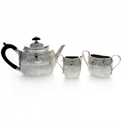 Antique Victorian Silver Three Piece Bachelor Tea Set (c.1884)