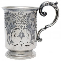 Antique Victorian Silver Gilt Lined Christening Mug with Scroll Handle (c.1870)