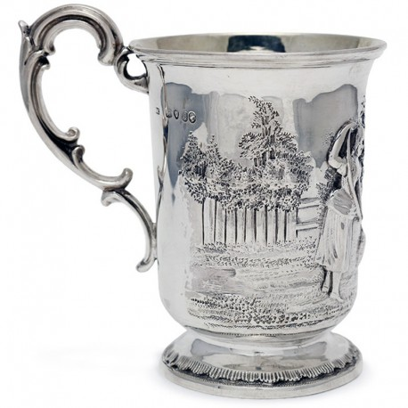 Silver Victorian Christening Mug Depicting a Child Playing with a Dog (c.1850)