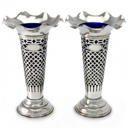 Pair of Antique Silver Vases with Pierced Body, London 1903
