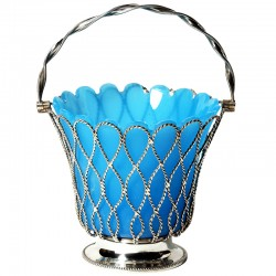 Antique Victorian Silver Sugar Basket with Blue Glass Liner