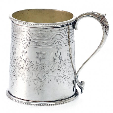 Victorian Silver Plated Childs Mug in Cylindrical Form (c.1890)