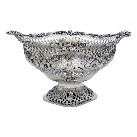Charming Oval Pierced Silver Bowl c.1923