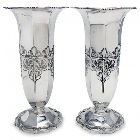 Pair of Antique Edwardian Silver Panelled Vases c.1903