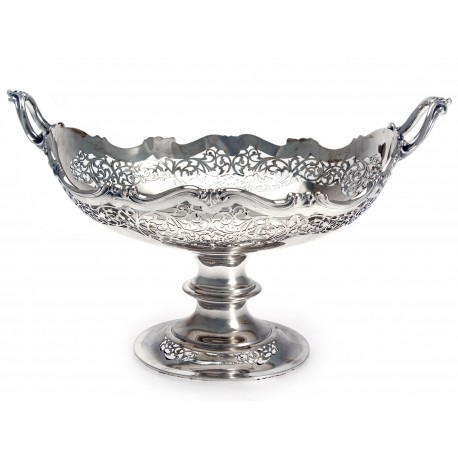 Attractive Antique Oval Silver Pierced Bowl (1915)