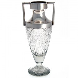 Silver Neck and Cut Glass Urn Shaped Vase