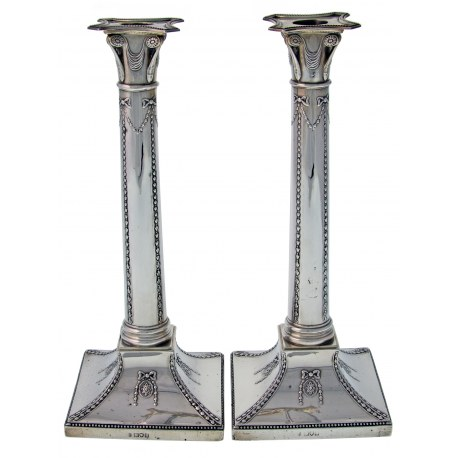 Pair of Edwardian Antique Silver Candlesticks (1908)