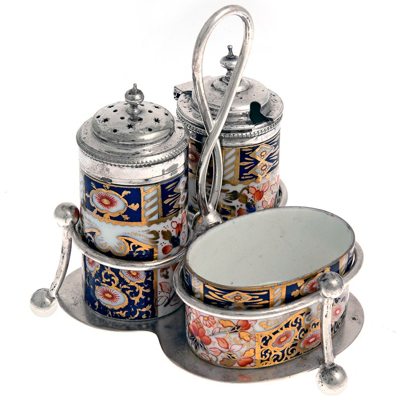 Silver Plated Cruet Set With Three Imari Style Porcelain Pots
