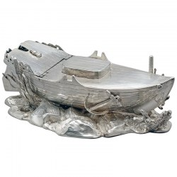 Rare Silver Plate Spoon Warmer in the Shape of a Boat (c.1890)