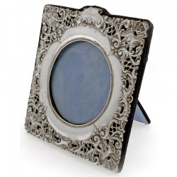 Square Pierced and Embossed Silver Pictire Frame
