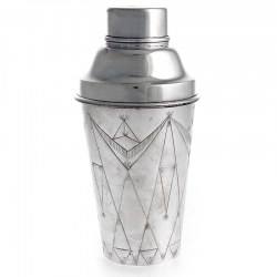 Art Deco Style Cocktail Shaker with Angular Design Chasing Around the Body
