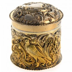 Victorian Gold Plated Silver Vanity Box or Jar
