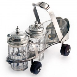 Novelty Victorian Silver Plate Roller Skate Condiment Set (c.1880)