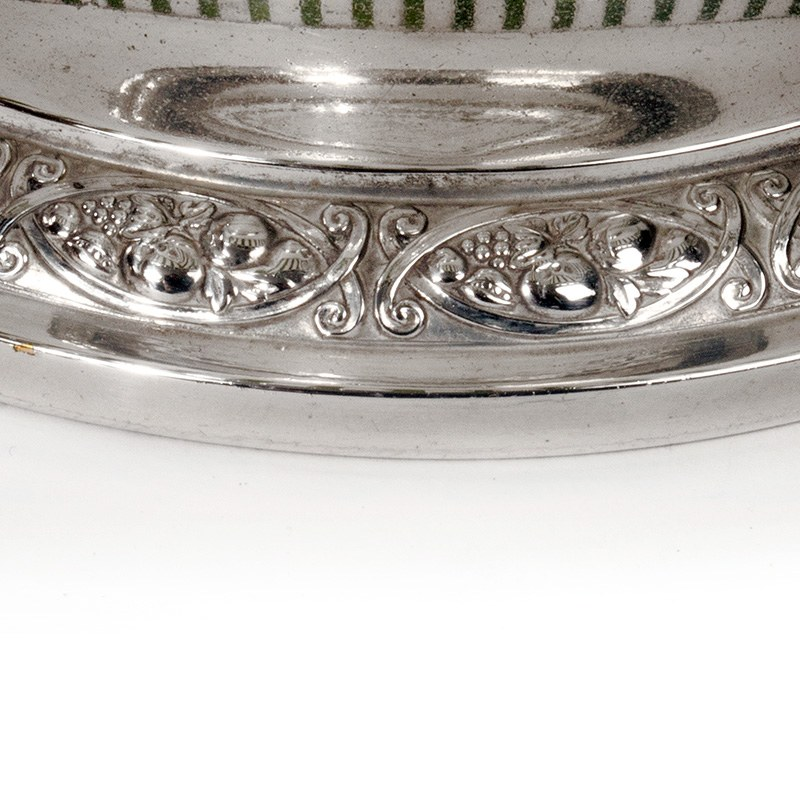 Wmf Silver Plated Fitted Basket With Original Green Glass